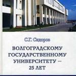 Сидоров С. Г. Волгоградскому государственному университету – 25 лет